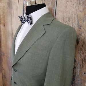 Hickey Freeman Green Suit Mens 38 R 100% Wool
